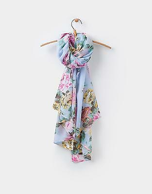 Joules 124259 Long Line Woven Scarf in Light Blue Floral One Size