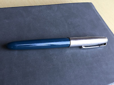 Vintage Parker 51 Fountain Pen Teal Blue With Lustraloy Cap - Made In England