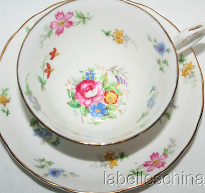 Tuscan Bouquet English Tea Cup and Saucer HPT Floral Gold Gilt Teacup Duo