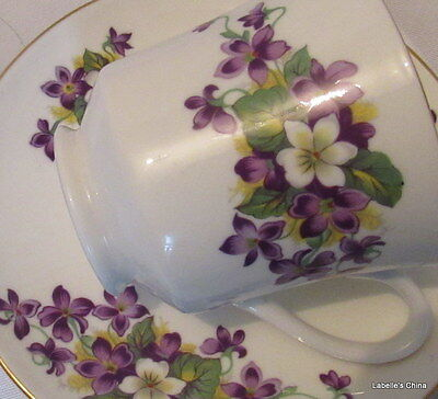 English Bone China Violets Tea Cup and Saucer Duo Made in England Royal Tuscan