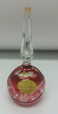 Lead Crystal BELL Germany German  Red Cranberry Cut Small Vintage Antique #KK