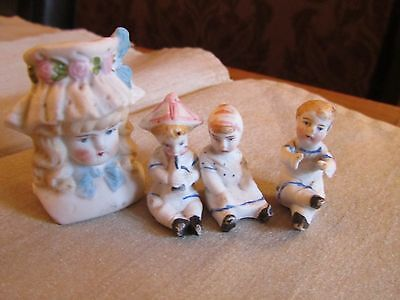 Three Lovely Antique Miniature Victorian Bisque  Dolls House Dolls & Another