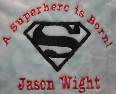 Embroidered Monogrammed Baby Blanket Stroller Superhero and others