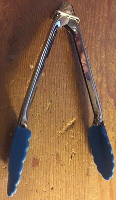 "Tong 7"" Spring Tongs BLUE Soft Tip Stainless Steel NEW!"