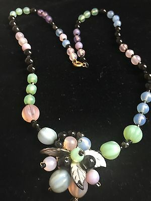 Vintage Art Deco Melon Glass Flower Beads Necklace Signed