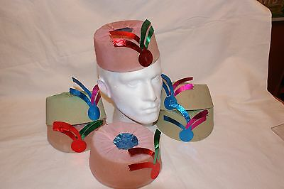6 Vintage Crepe Paper and Card Christmas Party Hats Circa 1950's