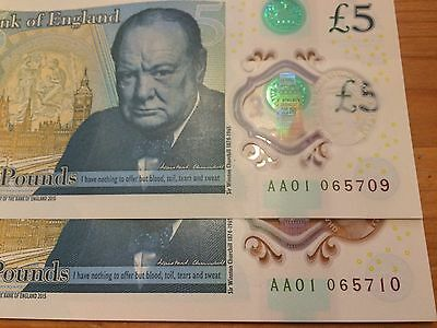 2X AA01 06 [LOW SERIAL] £5 Five pound notes CONSECUTIVE, VERY RARE.