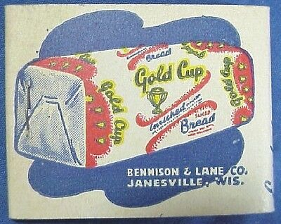 Vintage Gold Cup Bread Advertising Matchbook Janesville Wisconsin Unused