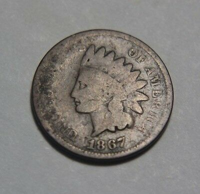 1867 1C RD Indian Cent - About Good Condition - Combine S&H