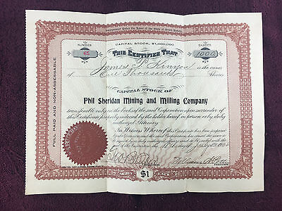 Phil Sheridan Mining and Milling Company Stock Certificate 1000 Shares 1905 #65