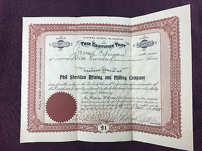 Phil Sheridan Mining and Milling Company Stock Certificate 500 Shares 1905 #76