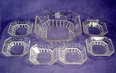Vintage WHEEL CUT Etched Flower OCTAGON Square DESSERT Fruit BOWL Set CRYSTAL