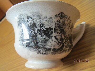 Country Life Tiny Tea Cup  Early Childs Staffordshire/transferware Blk & Wht