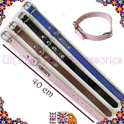 New Dog Pet Cat Puppy Collar Strong Adjustable Faux leather with Silver Stud