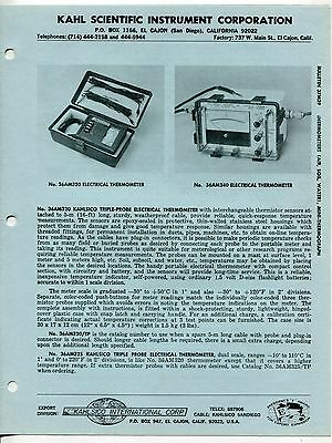 Vintage KAHLSICO Sales Brochure: THERMOMETERS (AIR, SOIL, WATER) +