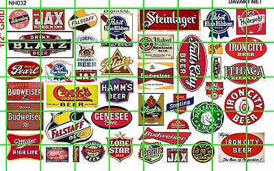 NH032 DAVE'S DECALS 1/2 Set N SCALE ASSORTED BEER ADVERTISING SET SEVERAL BRANDS