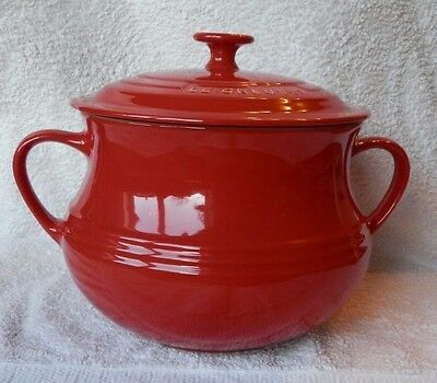 Le Creuset Stoneware LARGE BEAN POT with LID, Cerise/Red, 3.8L, BNWT, Rare