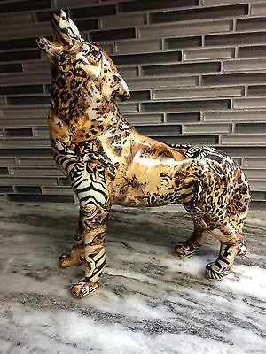 WOLF STATUE - RESIN ? GLOSSY FINISH ZEBRA / LEOPARD PRINT 9 in. TALL EXCELLENT
