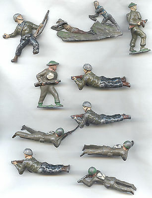 Assorted LEAD SOLIDIER FIGURES inc. Charbens OLD worn condition