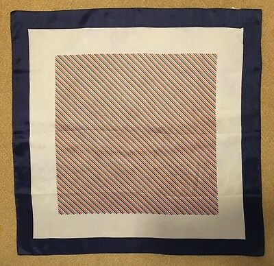 Vintage - Square Scarf with Placement Print- Navy / Ivory / Blue / Tan / Orange