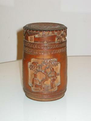 STUNNING 19th CENTURY CHINESE CARVED BAMBOO TEA CANISTER