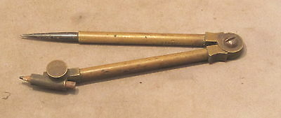 VINTAGE 120mm BRASS DRAWING COMPASS  with no makers mark
