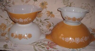 Vintage Pyrex Butterfly Gold Mixing Nesting Bowls Set Of 4 441, 442, 443, 444