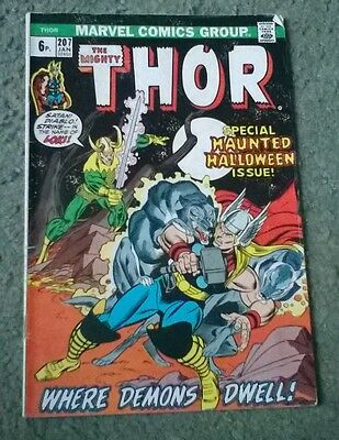 marvel comcis - the mighty thor no.207,jan 1973,fn- grade,bagged & boarded