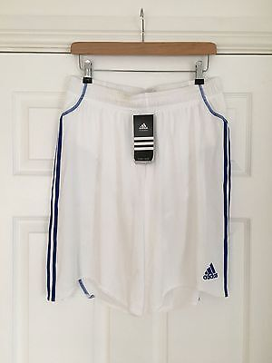 Adidas - Clima 365 - Football / Soccer Shorts - White with Cobalt Stripe - L