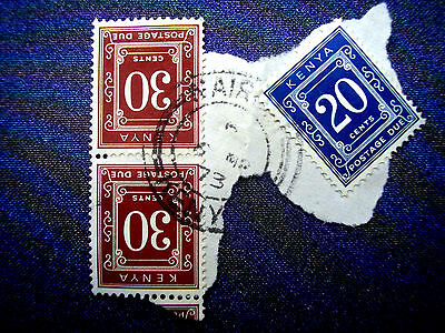KENYA 1973 POSTAGE DUE PAIR & SINGLE ON PIECE used NAIROBI 6.March 1973.