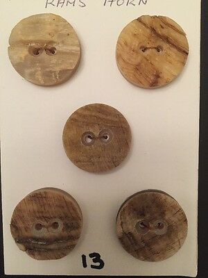 5x Genuine Rams Horn Buttons