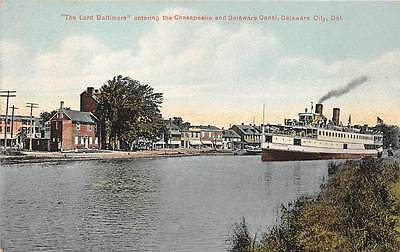 DELAWARE CITY, DE, SS LORD BALTIMORE ENTERING C & D CANAL, AKER PUB dated 1910