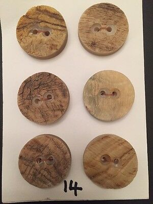 6 X Genuine Rams Horn Buttons