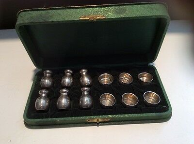 Set of 6 Cased John Hasselbring Sterling Pepper Shakers And Salt Bowls No Monos