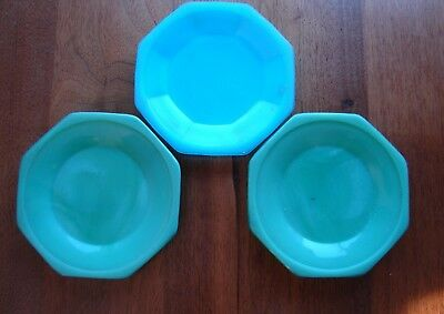 3 Vntg Akro Agate Child's Play 8-sided Opaque Jadeite Green & Blue Glass Plates