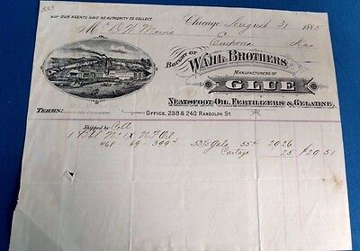 Antique Vintage Factory Wahl Brothers oil fertilizer glue agriculture invoice