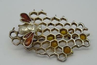 *cute Vintage English Sterling Silver Bee & Honeycomb Brooch***