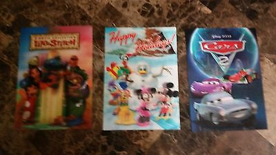 Lot Of 4 Disney 3-D Lenticular Cards Lilo Stich Cars 2 Robin Hood Mickey Mouse