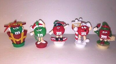Lot 5 M&M Candy Plastic Ornaments 1990's tube toppers M&M'S M and M