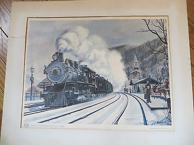 """Vintage Howard Fogg Print 1958-Christmas Mail, 1907, Stoops Ferry, PA 19"""" x 14+"""""""