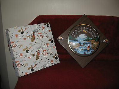 Vintage 1969 Rodan Creations The Sportsman Fishing Wall Thermometer Plaque