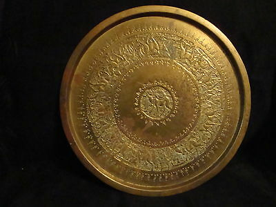 "Vintage Middle East Egyptian Brass Plate Tray, 13 1/2"" Diameter, Caravan Camels"