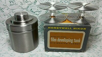 Vintage NIKOR Honeywell Film Developing Tank Q15 in Box -2 reels Medium Format