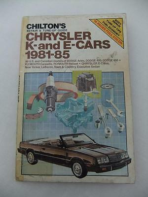 RARE CHILTONS REPAIR & TUNE UP GUIDE*CHRYSLER K & E CARS*81 to 85*DODGE*PLYMOUTH