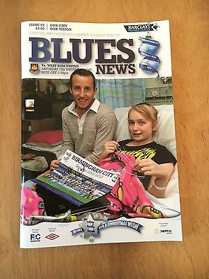 Birmingham City V West Ham Programme 12/12/2009