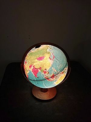 12 Inch Replogle World Horizon Series Lighted World Globe With Wood Base