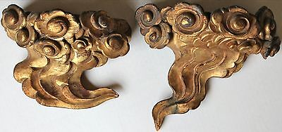 Antique Chinese Pair Carved Gilt Wood Flying Cloud Wall Brackets Ming