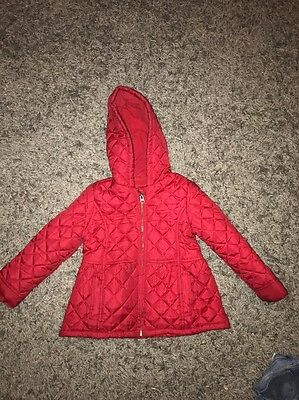 Girls Coat Bluezoo Debenhams Red Quilted Hood Age 4-5 Years School Next Day Post