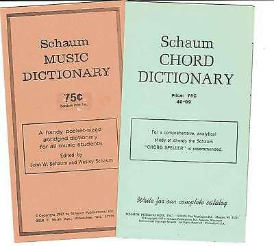Schaum Music & Chord Dictionary 3-Fold Reference Cards x2 1967