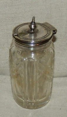Lovely art deco style vintage silver plated top glass mustard pot